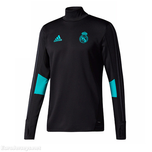 Real Madrid 2017-18 Black Turtleneck Sweat Top Shirt