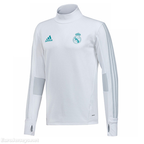 Real Madrid 2017-18 White Turtleneck Sweat Top Shirt