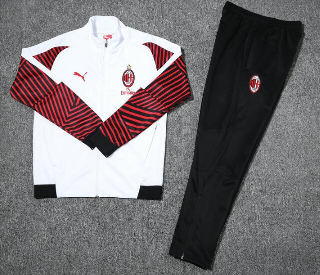 AC Milan Tracksuits 2018-19 White Red Jacket Top + Pants