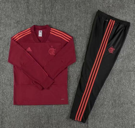 Flamengo Tracksuit 2018-19 Red V'neck Sweat Top + Pants