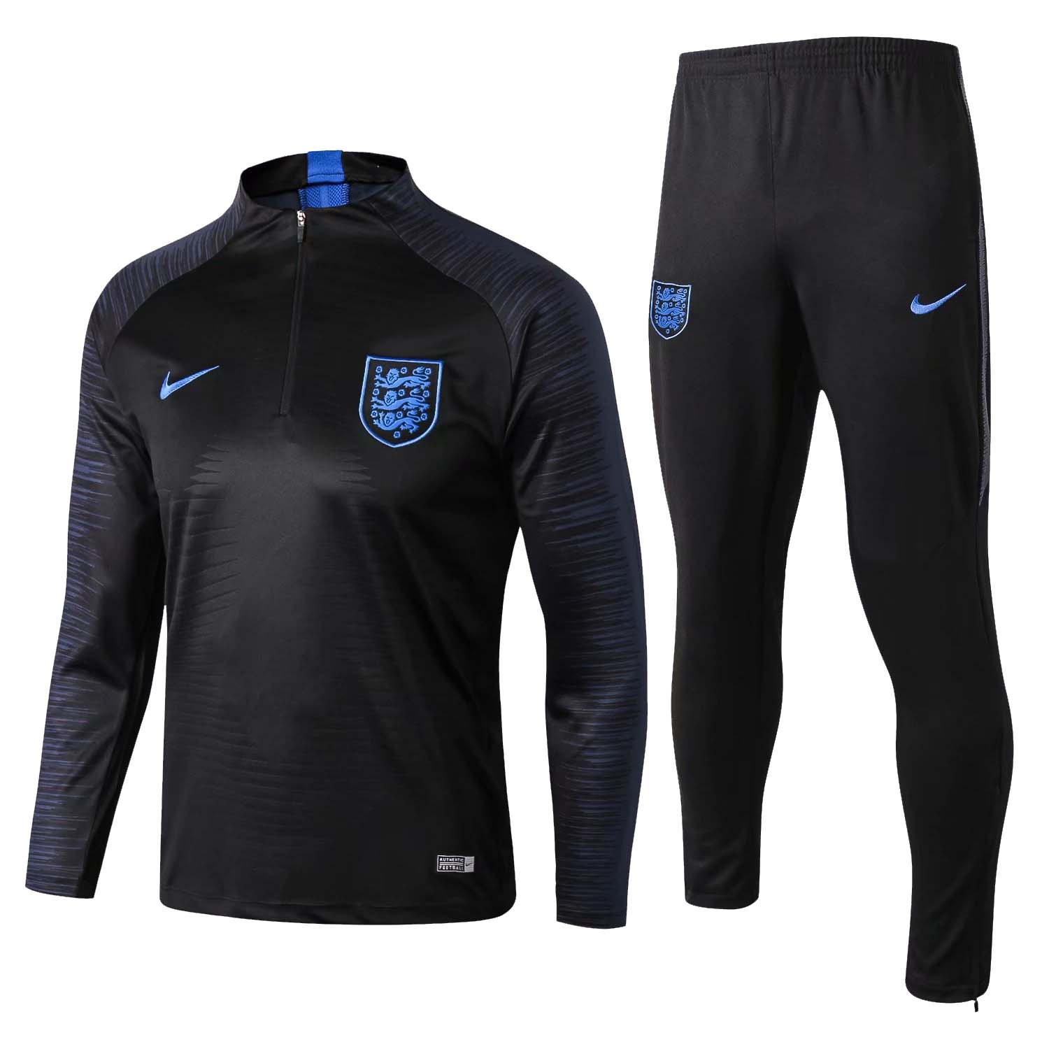 England Training Suit World Cup 2018 Black Stripe Top + Pants