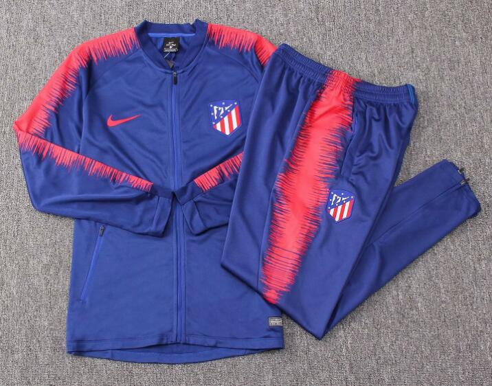 Atletico Madrid Tracksuit 2018-19 Blue Red Stripe Jacket Top + Pants