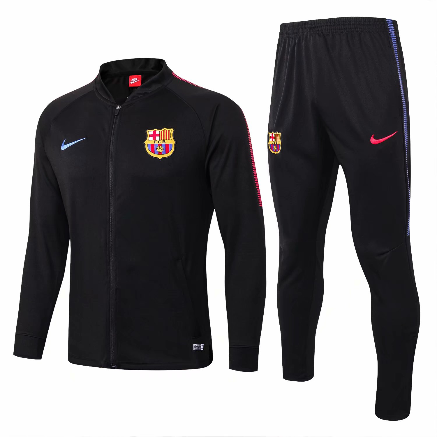 Barcelona Training Suit 2017-18 Black Low Neck Jacket + Pants
