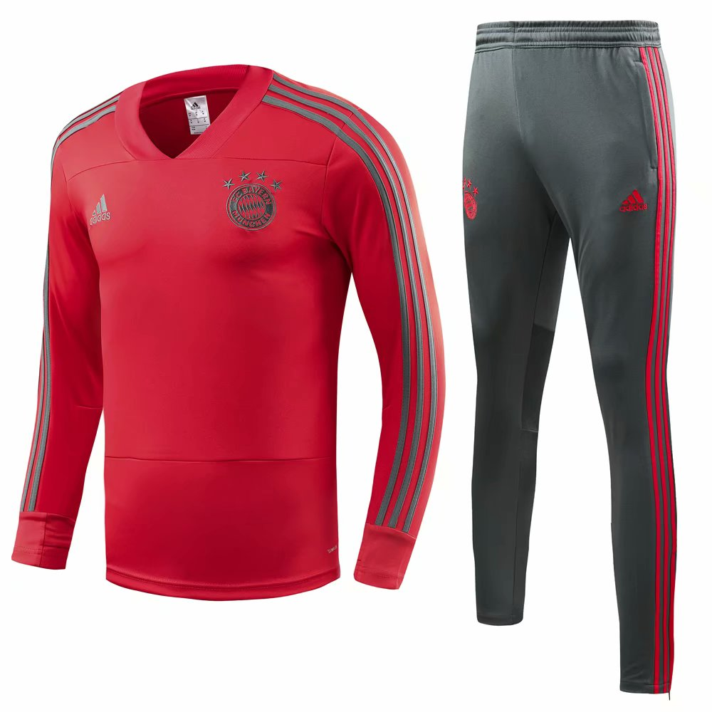Bayern Munich Training Suit 2018-19 Red V-Neck Sweat Top + Pants