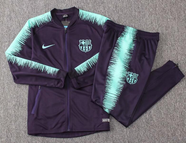 Kids Barcelona Tracksuit 2018-19 Green Stripe Jacket Top + Pants