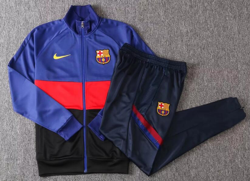 Barcelona Kids Tracksuits 2020-21 Blue Black Jacket Top + Pants