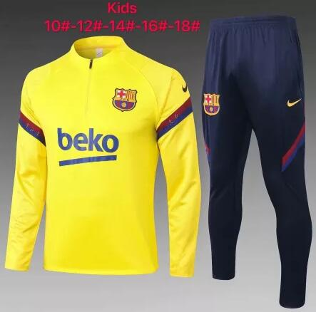 Kids Barcelona Tracksuits 2019-20 Yellow Sweat Top + Pants
