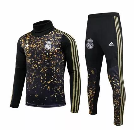 Real Madrid Tracksuit 2019-20 Black Sweat Top + Pants
