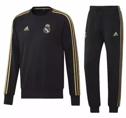 Real Madrid Tracksuit 2019-20 Black O Neck Sweat Top + Pants