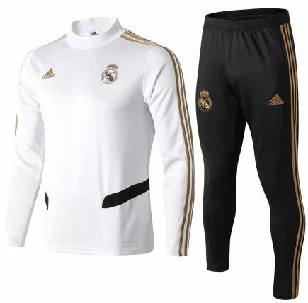 Real Madrid Tracksuit 2019-20 White High Neck Sweat Top + Pants