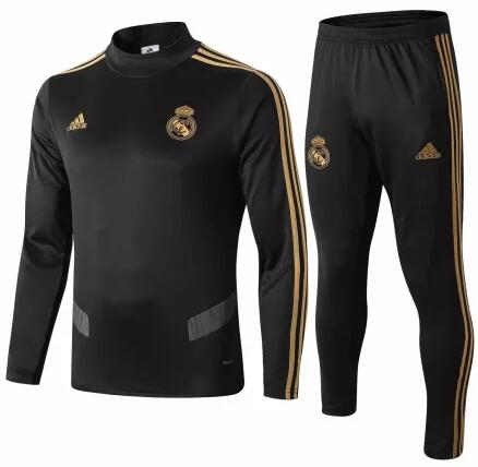 Real Madrid Tracksuit 2019-20 Black High Neck Sweat Top + Pants