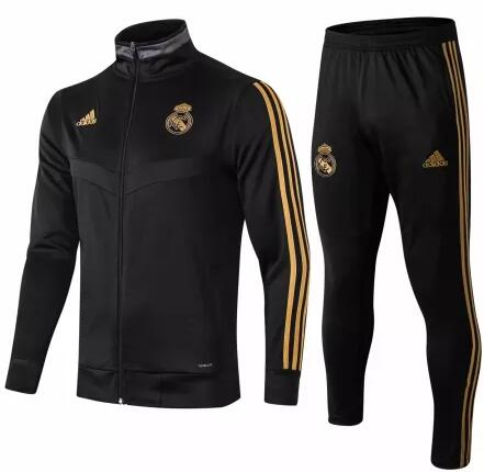 Real Madrid Tracksuit 2019-20 Black High Neck Jacket Top + Pants