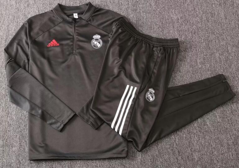 Real Madrid Youth Tracksuits 2020-21 Grey Top + Pants