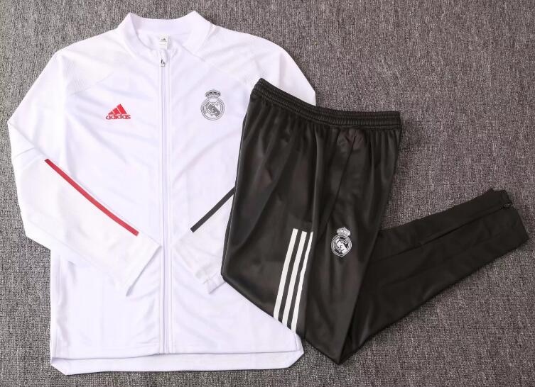 Real Madrid Youth Tracksuits 2020-21 White Jacket + Pants