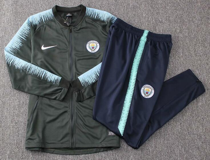 Manchester City Tracksuit 2018-19 Black Blue Strip Jacket Top + Pants