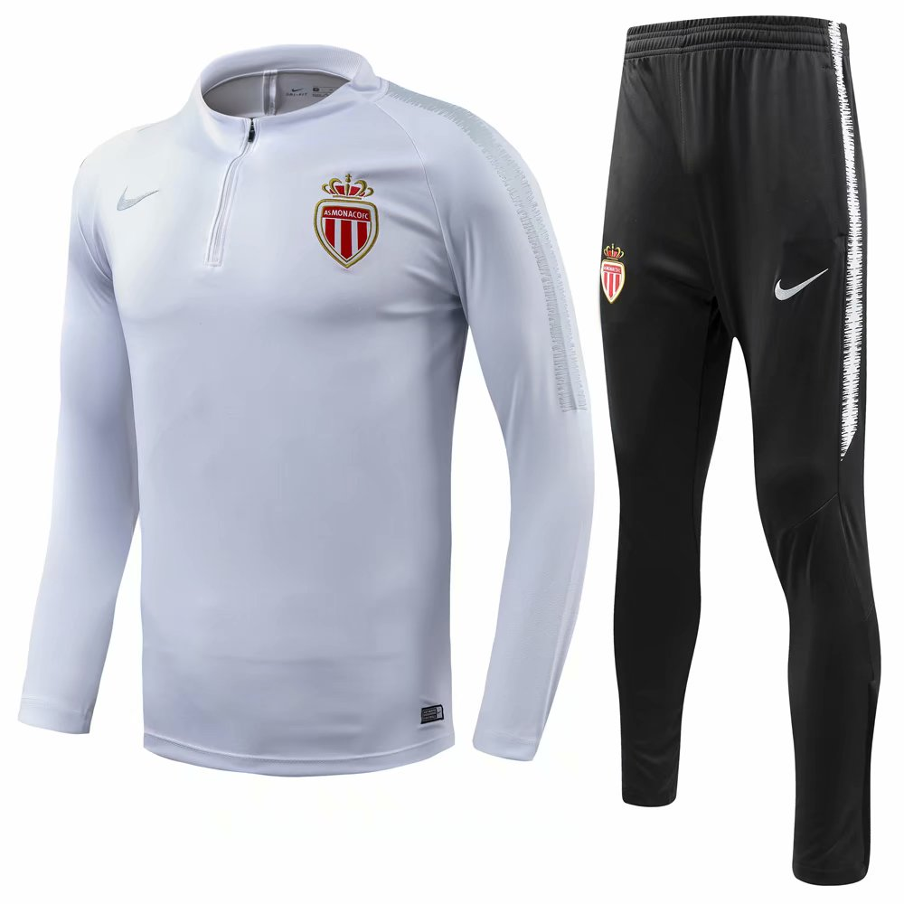 AS Monaco Training Suit 2018-19 White Sweat Top + Pants