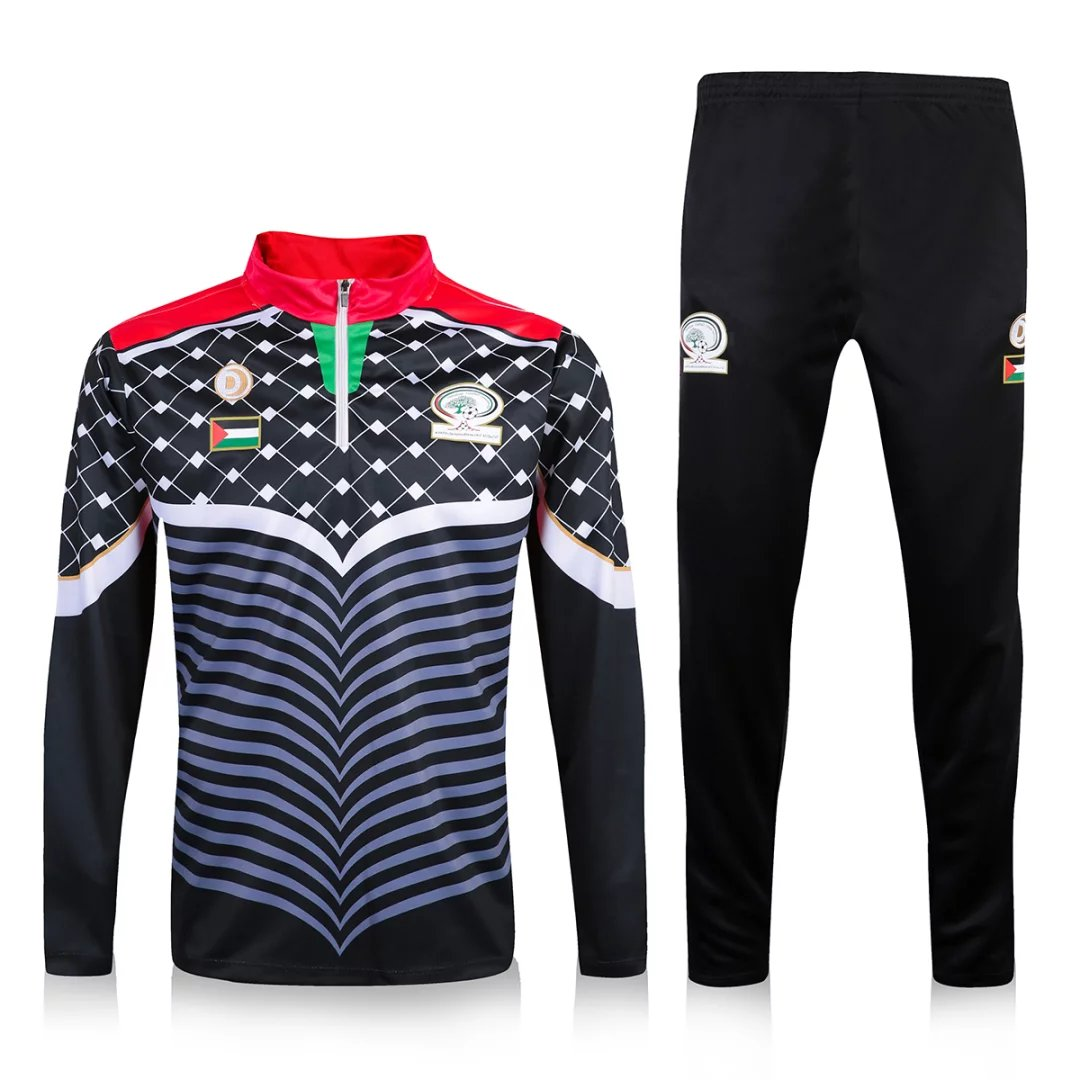 Palestine Training Suit 2016-17 Black Zipper Sweat Top + Pants