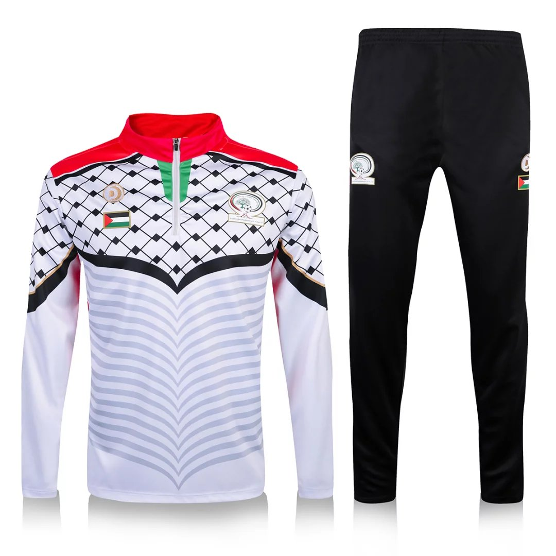 Palestine Training Suit 2016-17 White Zipper Sweat Top + Pants