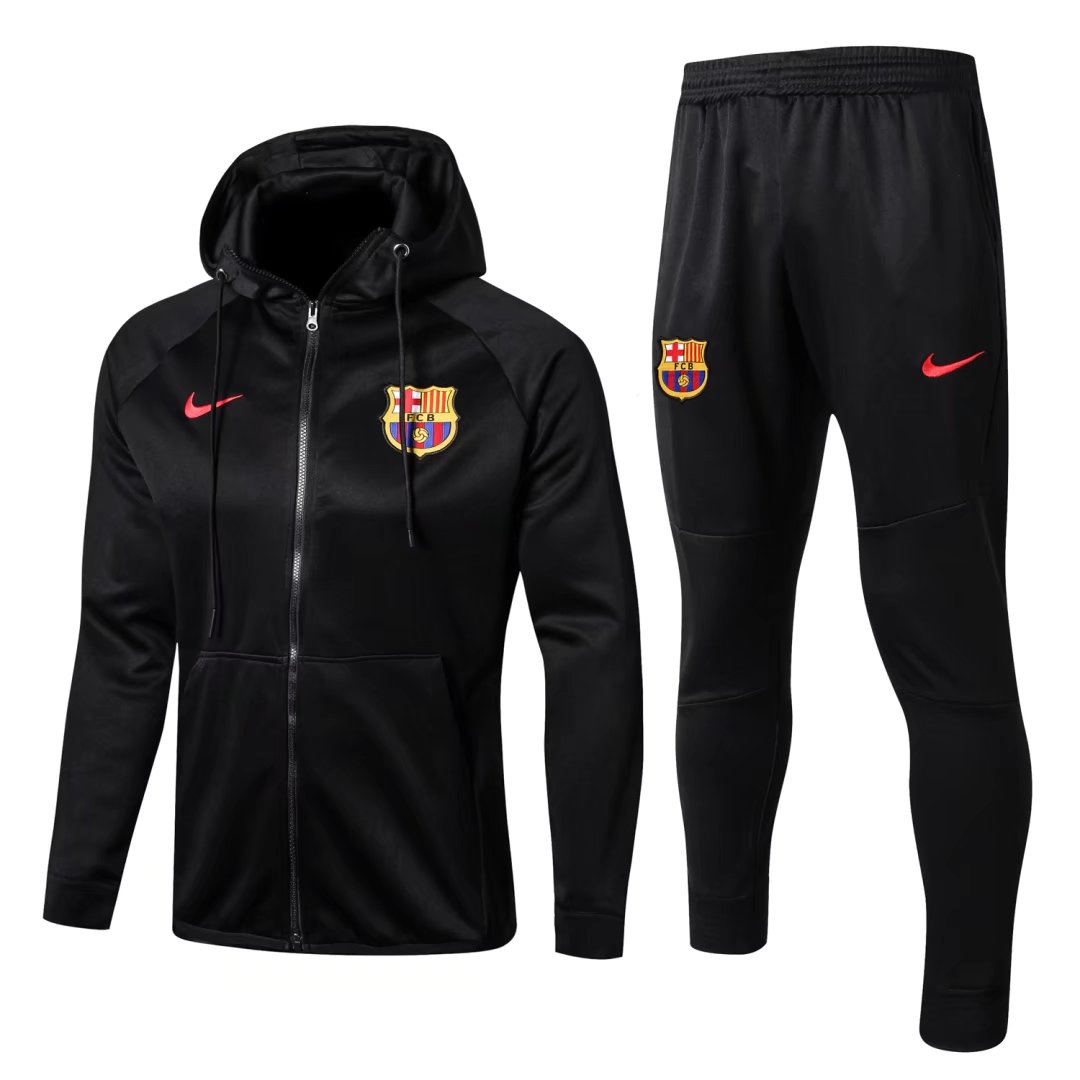 Barcelona Best Wholesale Football Kit 2017-18 Black Tracksuits Hoody Jacket with Pants