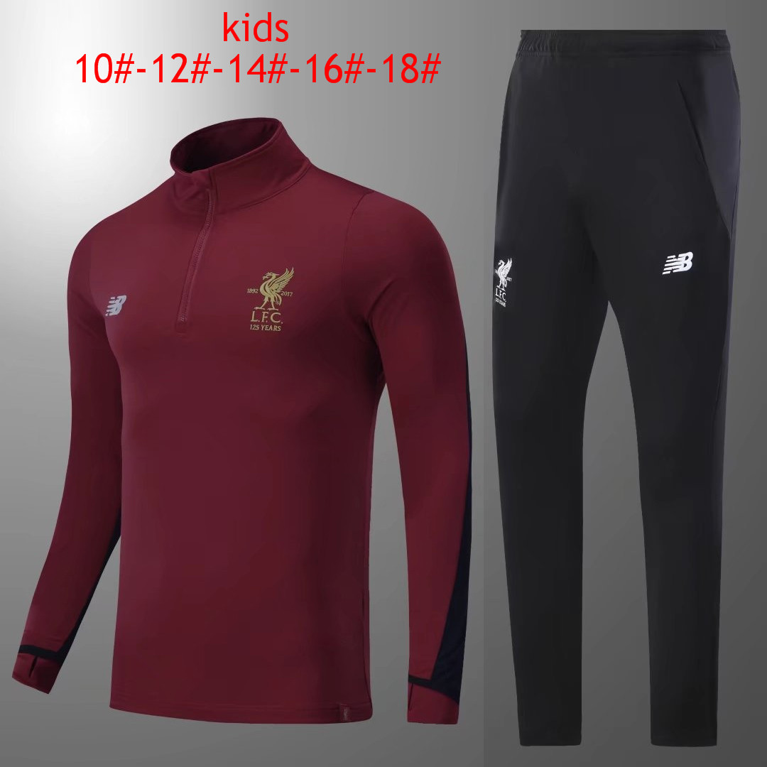Kids Liverpool 2017-18 Burgundy Tracksuit
