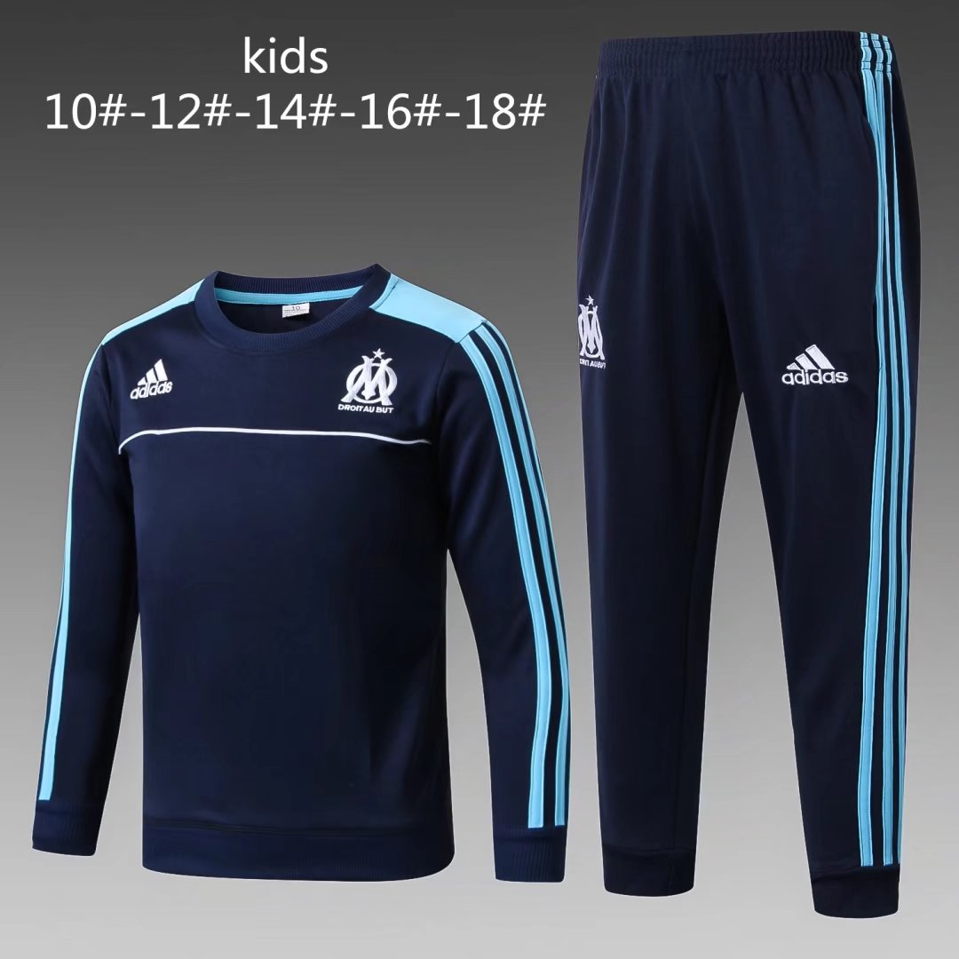 Kids Olympique Marseille 2017-18 O'Neck Royal Blue Tracksuit