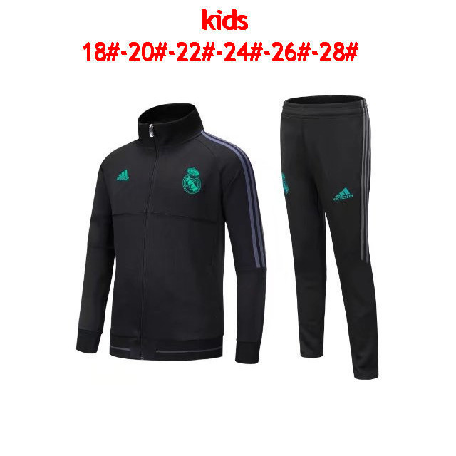 Kids Real Madrid 2017-18 Black Tracksuit Jacket & Pants