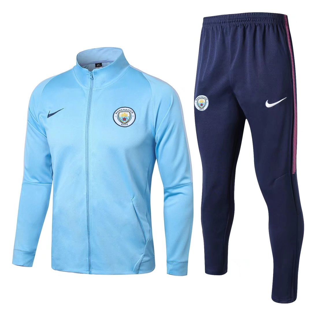 Manchester City 2017-18 Light Blue Track Suits (Jacket+Trouser)