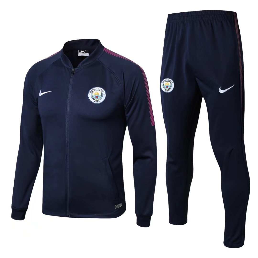 Manchester City 2017-18 Navy Track Suits (Jacket+Trouser)