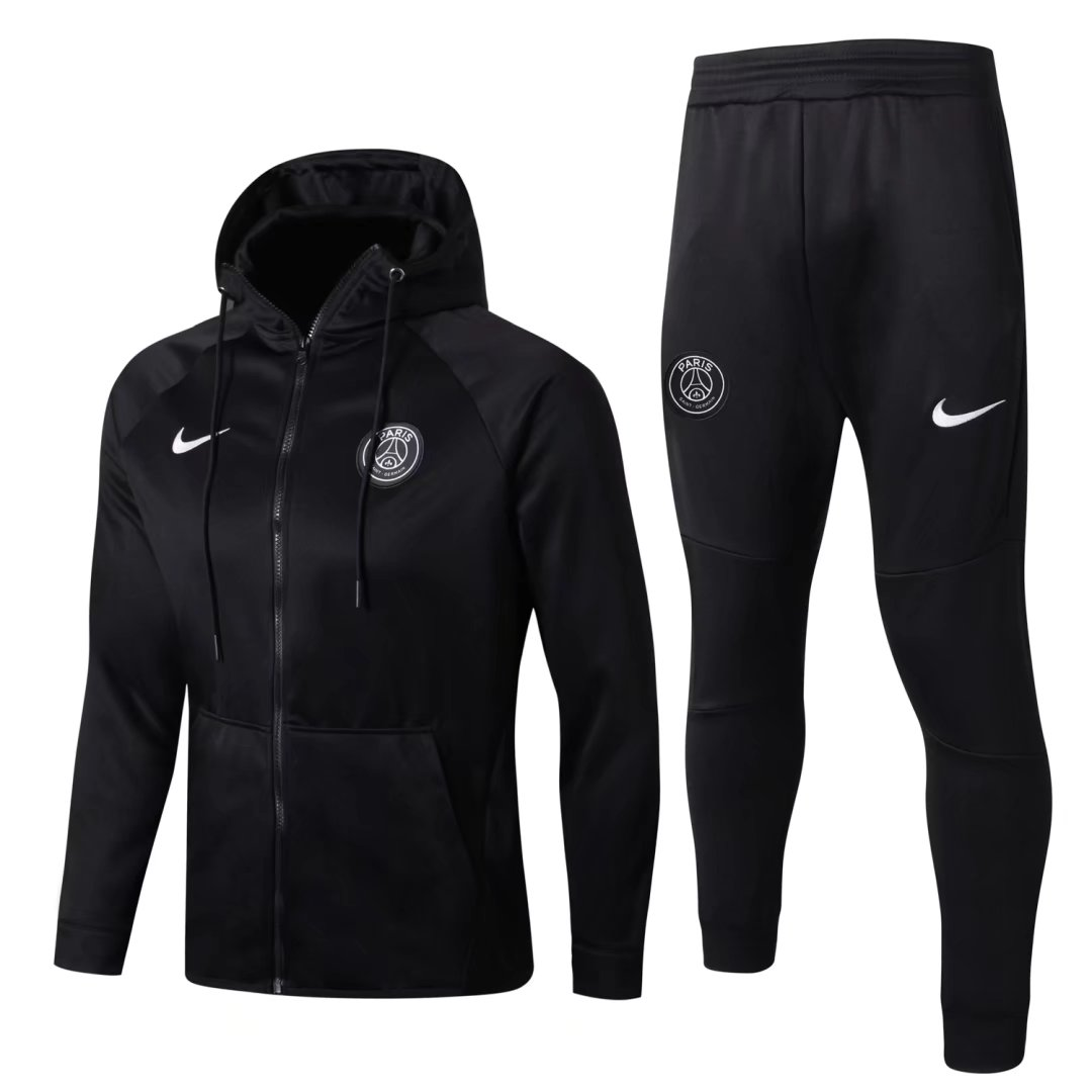PSG Best Wholesale Football Kit 2017-18 Black Tracksuits Hoody Jacket with Pants
