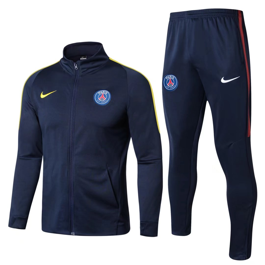 PSG Best Wholesale Football Kit 2017-18 Navy Tracksuits High Neck Jacket with Pants