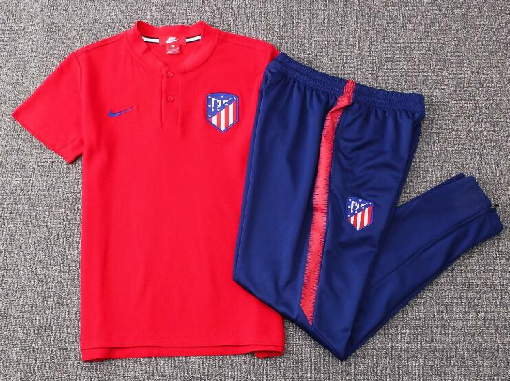 Atletico Madrid Training Suit 2018-19 Red Polo Shirt + Pants