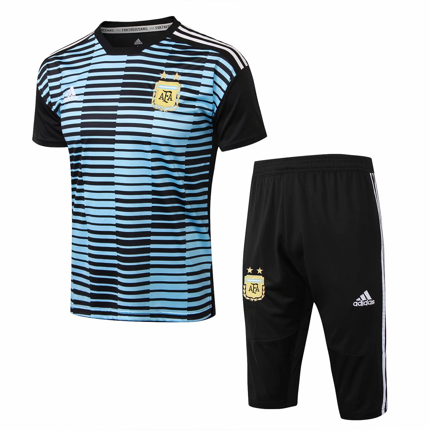 Argentina Short Training Suit 2018-19 Blue Stripe