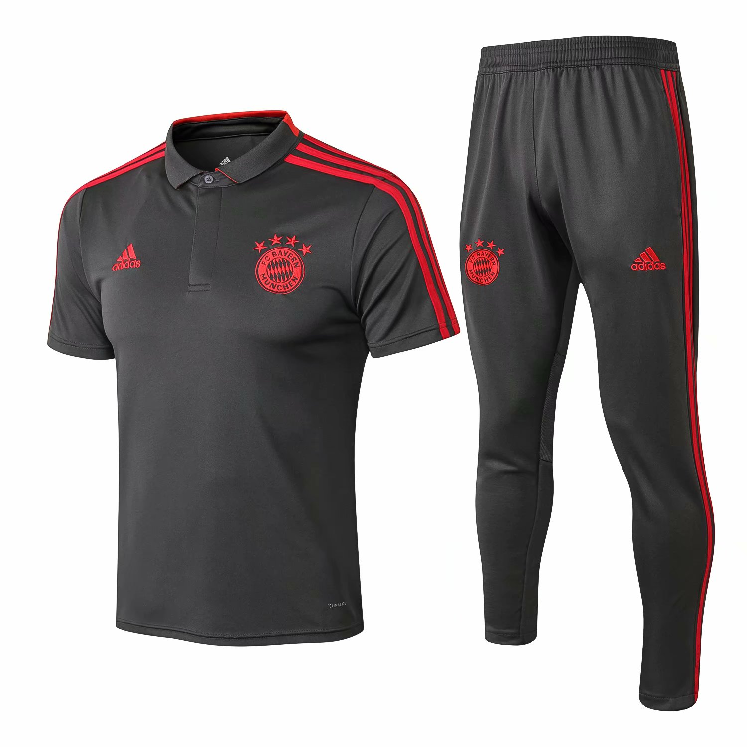 Bayern Munich Training Suit 2018-19 Grey Polo Shirt + Pants
