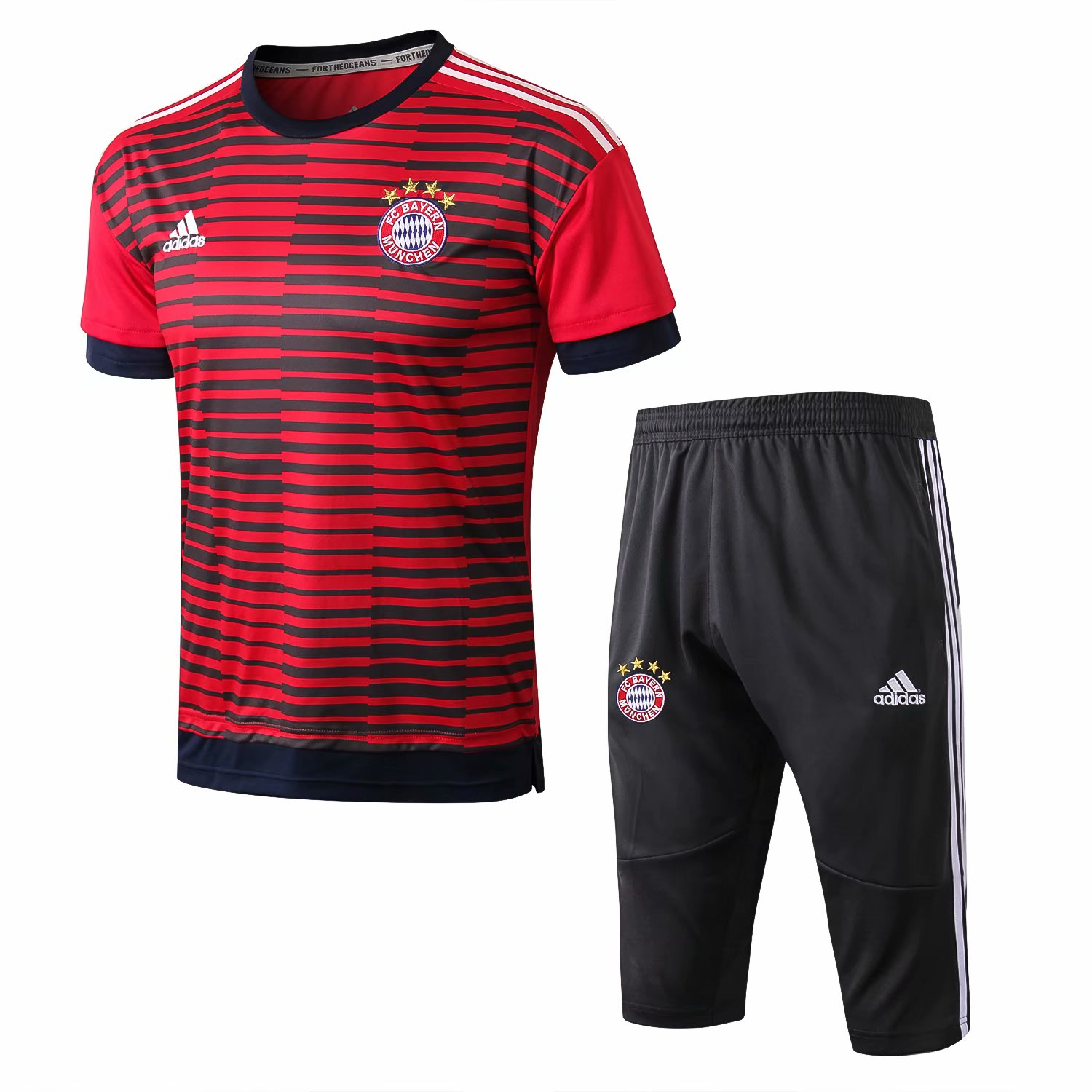 Bayern Munich Short Training Suit 2018-19 Red Stripe