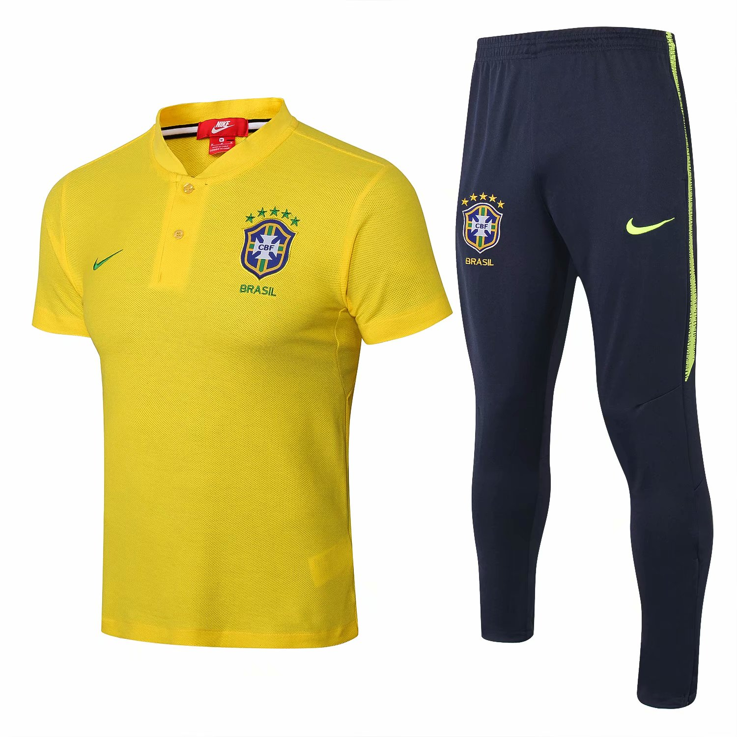 Brazil Training Suit 2018 World Cup Yellow Polo Shirt + Pants