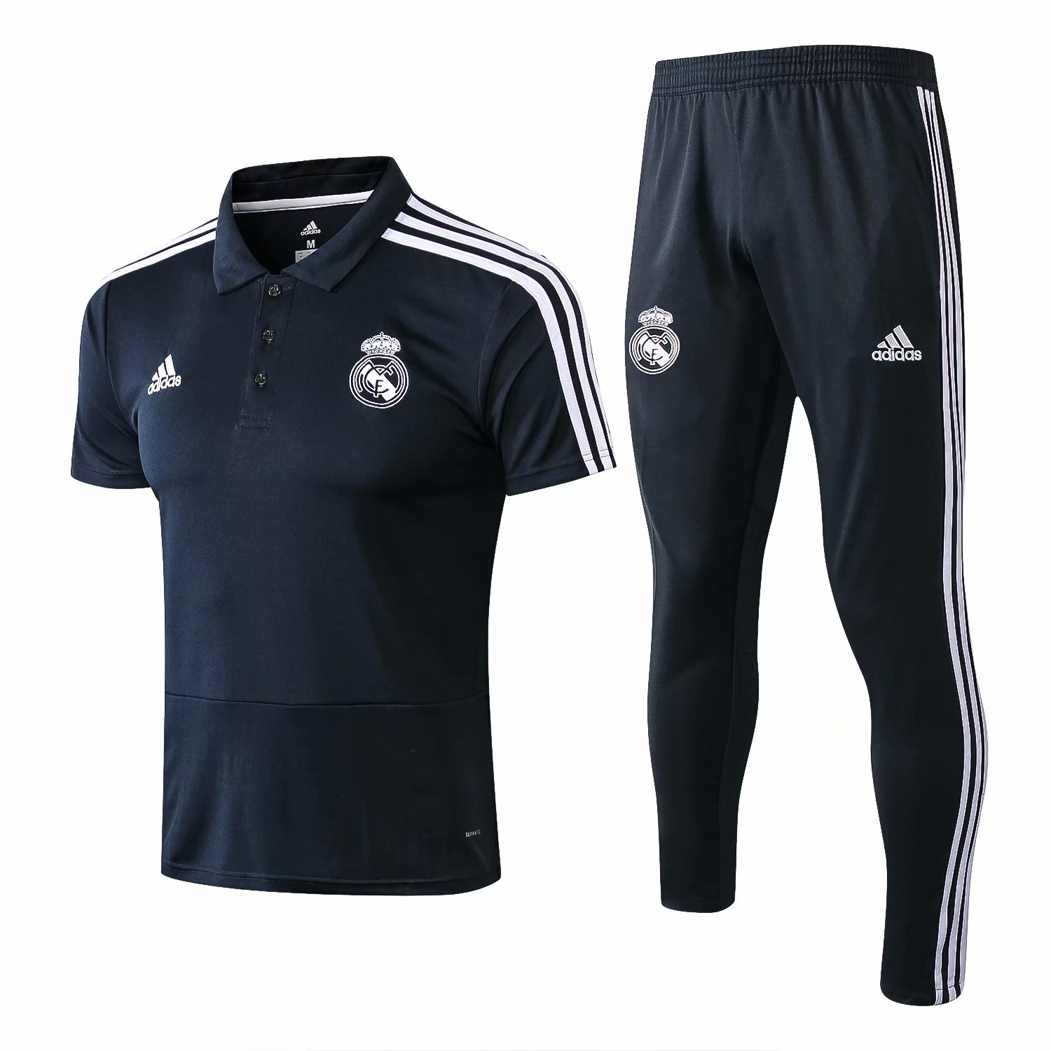 Real Madrid Training Suit 2018-19 Grey Polo Shirt + Pants