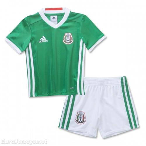 Mexico 2016-17 Home Kids Soccer Kit Children Shirt And Shorts