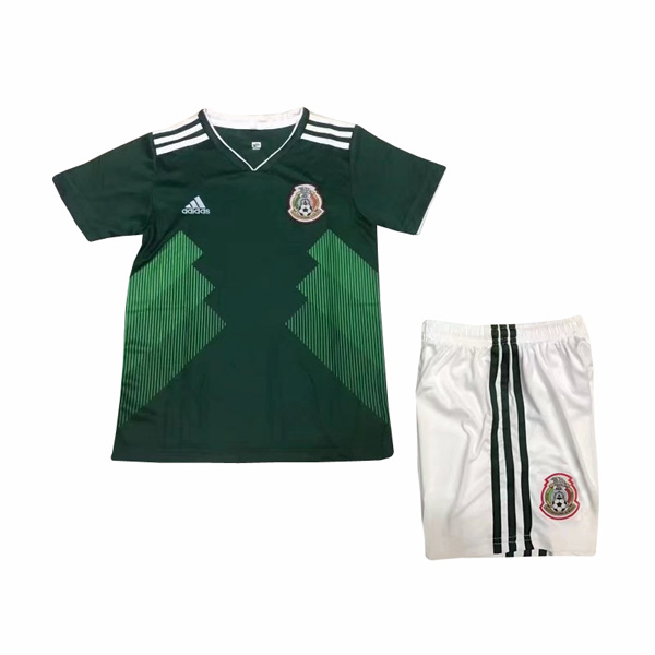 Mexico 2018 World Cup Home Kids Soccer Kit Children Shirt And Shorts